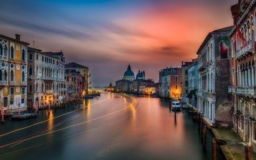 landscape, sunset, the city, channel, italy, twilight, the urban landscape