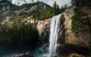 mountains, rocks, nature, forest, waterfall, usa, yosemite, vernal falls