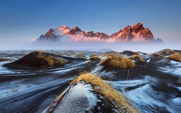 the sky, grass, mountains, morning, fog, haze, iceland, vestrahorn, stockksness, black lava sand