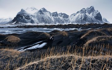 the sky, grass, mountains, sand, iceland, vestrahorn, black sand, black lava sand