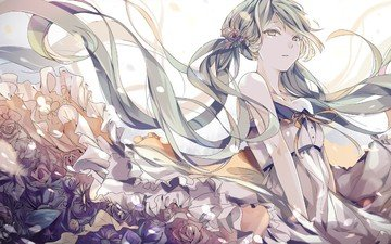 flowers, girl, dress, anime, vocaloid, hatsune miku, mangaka