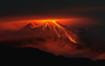 night, mountains, nature, landscape, silhouette, twilight, lava, the volcano, the eruption of the volcano, ecuador