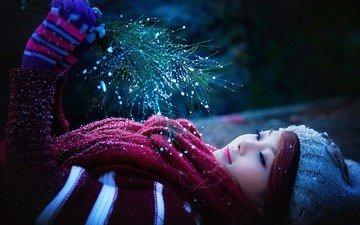 снег, зима, девушка, улыбка, модель, шляпа, азиатка, перчатки, шарф