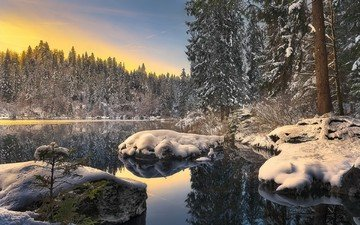 trees, lake, river, snow, nature, forest, winter, reflection, landscape