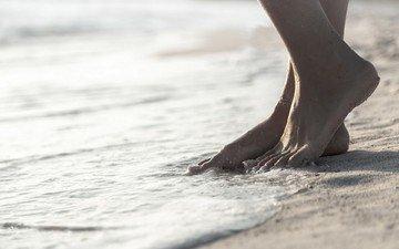 море, песок, пляж, ноги, браслет, прилив
