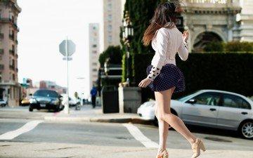 дорога, девушка, улица, модель, ножки, каблуки