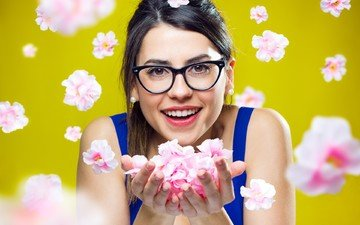 flowers, smile, portrait, glasses, girls, model, face, yellow background, long hair, bare shoulders