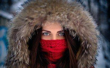 глаза, зима, девушка, портрет, взгляд, модель, лицо, мех, капюшон, шарф