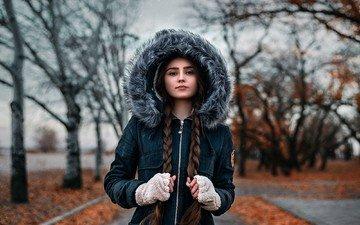 девушка, взгляд, осень, модель, лицо, мех, капюшон, косы, dima begma