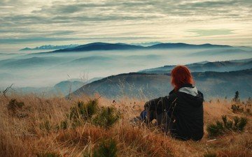 clouds, mountains, nature, girl, landscape, morning, fog, horizon, red, model, pasture, hill, mountain relief