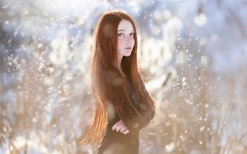 nature, winter, girl, dress, red, model, face, blue eyes, long hair