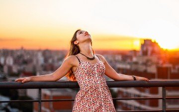 sunset, girl, mood, dress, bridge, the city, the fence, freedom, sundress, daniela tadé