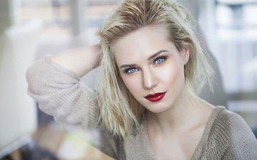 девушка, блондинка, портрет, модель, лицо, голубые глаза, макияж, помада, красная помада, боке, ева микульски, tistlarpix