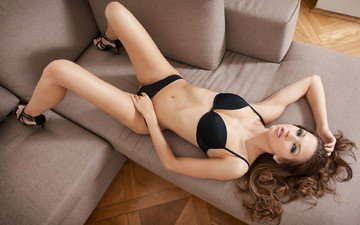 girl, look, sofa, belly, long hair, black lingerie, high heels