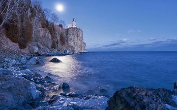 night, rocks, nature, landscape, sea, lighthouse