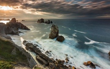 the sky, rocks, nature, landscape, sea, coast