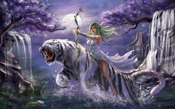 тигр, арт, девушка, воин, варкрафт, games, мир варкрафта, ух, лучник