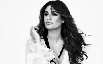 girl, look, black and white, hair, face, actress, singer, lea michele