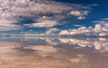 the sky, clouds, water, lake, reflection, landscape, saline