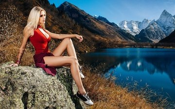 lake, mountains, girl, landscape, blonde, skirt, sneakers, model, profile, sitting, legs, posing, mike, nature