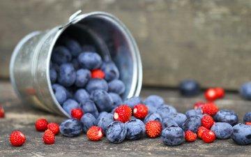 berries, blueberries, strawberries, bucket