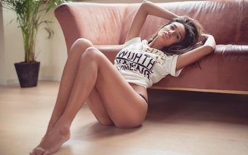 girl, model, sofa, underwear, brown hair, long hair, sitting