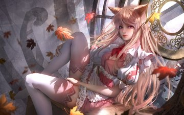 art, blonde, anime, stockings, ears, tail, long hair