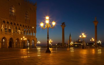 night, lights, venice, italy, europe, area