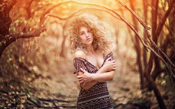 деревья, лес, девушка, блондинка, модель, декольте, afeef