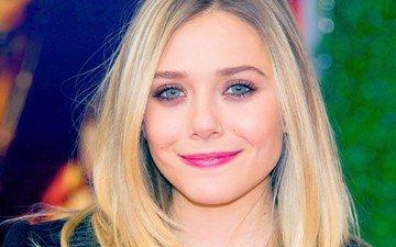 девушка, блондинка, улыбка, взгляд, волосы, лицо, актриса, элизабет олсен