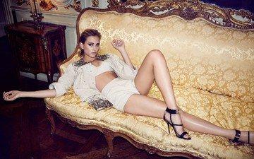 девушка, поза, ножки, актриса, певица, диван, французская, нора арнезедер