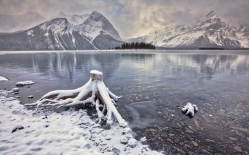 lake, mountains, snow, canada, albert, kananaskis