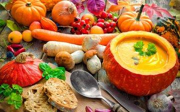mushrooms, vegetables, carrots, pumpkin, garlic, soup, alexander raths
