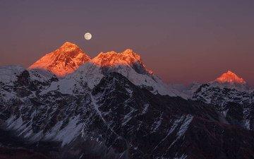 горы, пейзаж, луна, эверест, alexey senin