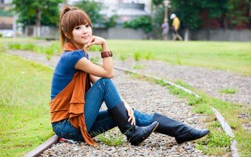 rails, stones, girl, street, model, sitting, jeans, asian, boots