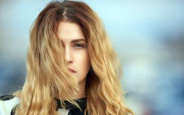 девушка, блондинка, портрет, взгляд, модель, волосы, лицо