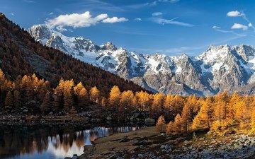 река, горы, природа, лес, пейзаж, осень