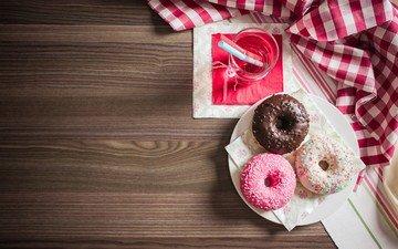 напиток, стакан, сладкое, тарелка, пончики, выпечка, десерт, глазурь, сок, салфетки