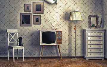 style, interior, tv, retro, lamp, table
