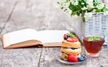 mint, strawberry, berries, blueberries, tea, breakfast, book, cakes, cake