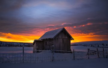 nature, sunset, winter, landscape, house