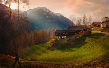 mountains, nature, landscape, houses, autumn, village