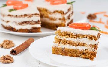 корица, сладкое, торт, десерт, морковь, пирожное, грецкий орех