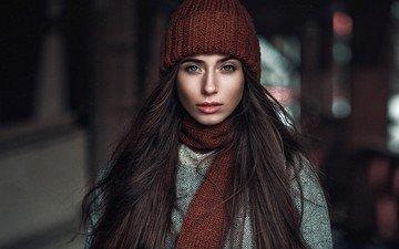 девушка, портрет, взгляд, волосы, лицо, шапка, макияж, шатенка, боке, шарф, голубоглазая, юля, yulia, макс кузин