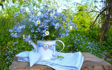 flowers, chamomile, bouquet, forget-me-nots
