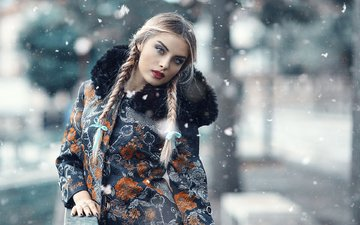 snow, winter, girl, blonde, look, model, braids