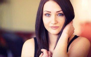 девушка, портрет, модель, губы, голубые глаза, фотосессия, длинные волосы