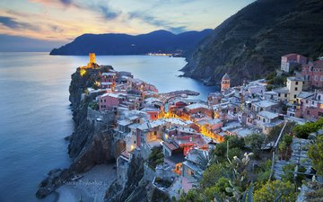 rock, the city, coast, italy, cinque terre, vernazza