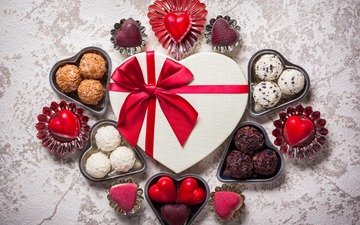 candy, gift, chocolate, hearts, valentine's day, bow, 14 feb