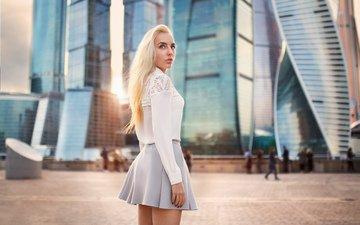 girl, blonde, the city, look, skirt, hair, face
